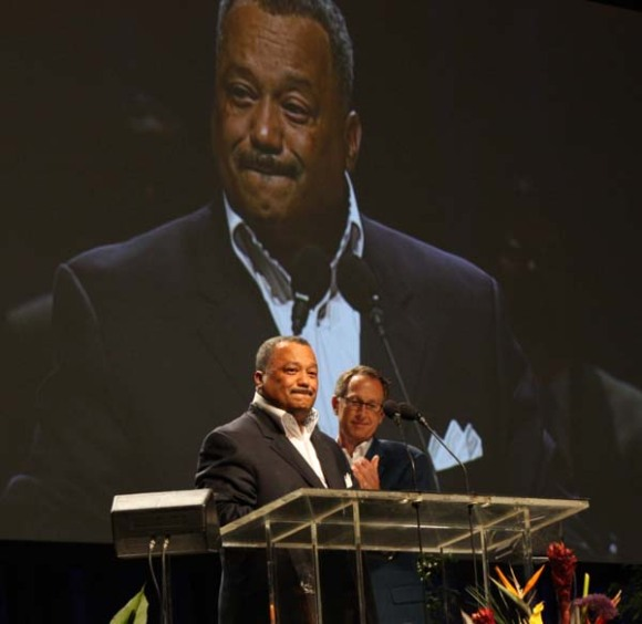 Pastor Fred Luter, the SBC's new president, receives a standing ovation from messengers at the convention's annual meeting.