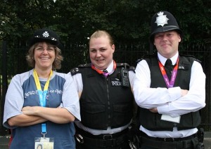 London Bobbies were among the many people Serena and the mission team members met.