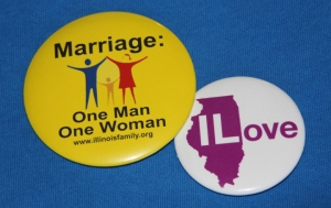 BATTLING BUTTONS - People for and against same-sex marriage in Illinois are wearing their opinions this winter.