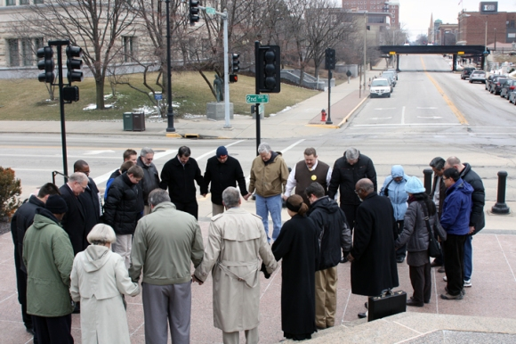 Christians gathered to pray on the Illinois Capitol steps Thursday. David Howard, director of missions for the Capital City Baptist Association, and Kevin Carrothers, pastor of Rochester First Baptist, were among the group of about 25 people.