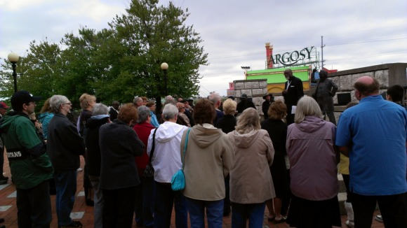 Pastor Danny Holliday leads supporters of traditional marriage in a prayer rally in Alton.