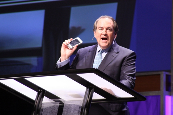 "Former Arkansas Gov. Mike Huckabee opened his Pastors' Conference message with humor: He no longer has to pay for a cell phone tracking app, because if he loses it, ""I'm just going to call the government and say, 'Hey, where is my phone?'"""