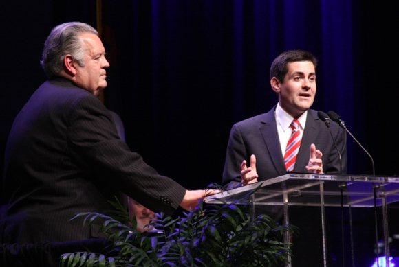 Russell Moore (right), the new president of the Ethics and Religious Liberty Commission explains that the ERLC will support principles, rather than specific legislation. President Emeritus Richard Land (left) led the commission for 25 years.