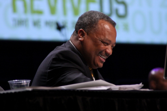 Fred Luter laughs as Virginia pastor Mark Croston nominates him for a second term as SBC President. Luter, pastor of Franklin Avenue Baptist Church in New Orleans, was unopposed.