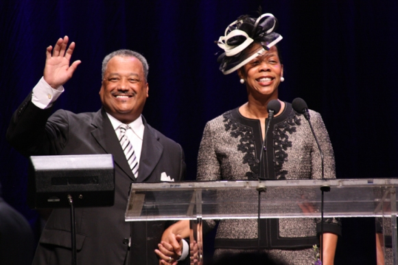Fred Luter and his wife, Elizabeth, are recognized by convention messengers Wednesday afternoon. Luter was elected to a second term as SBC President in Houston this week.