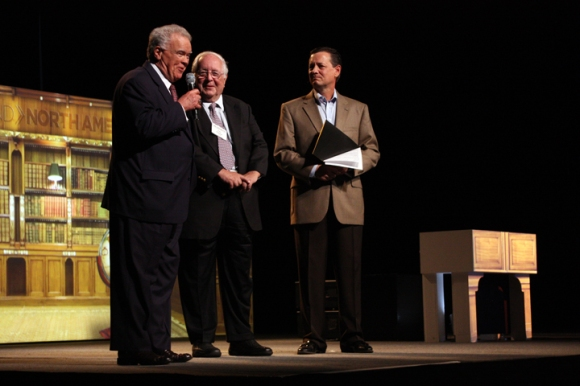 NAMB President Kevin Ezell (right) recognizes Judge Paul Pressler (center) and Paige Patterson at a luncheon for Send: North America.