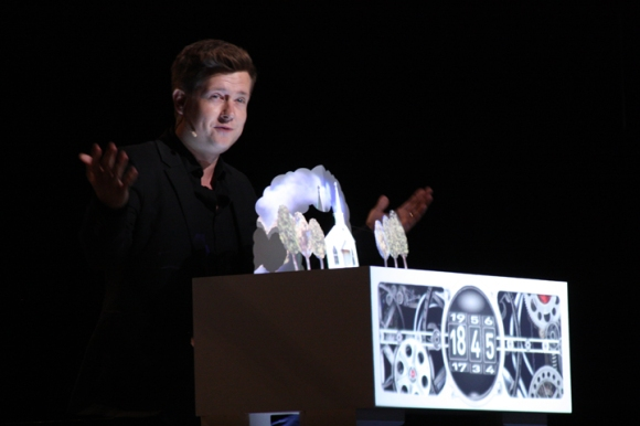 Illusionist Harris III presents a history of Southern Baptists, while a ticker moved through the years from Baptists' beginnings to the year 2013.