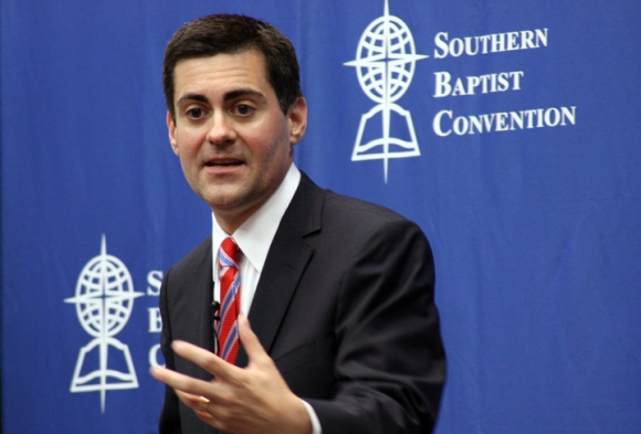 New ERLC President Russell Moore answers questions at a press conference.