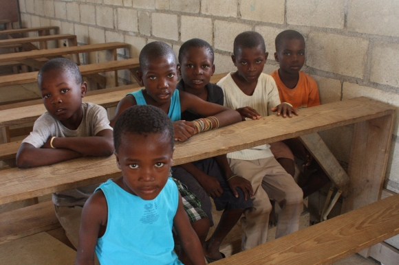 Our first day at our work sites: Kids were waiting at the church in Bigarade when we arrived.
