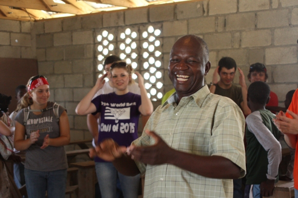 Pastor Estaphat, who leads Gosen Church, led us in a few songs before we walked to our construction sites.