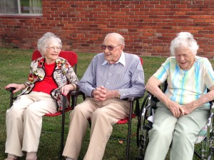 CELEBRATION YEAR – (From left) Georgia Griffin, Goebel Patton, and Maxine Ferrari, all members of Second Baptist in West Frankfort, turned 100 in 2013.