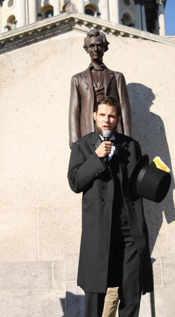 Abraham Lincoln impersonator Dr. Mark Zumhagen delivered the Gettysburg Address, which celebrates its 150th anniversary this year.