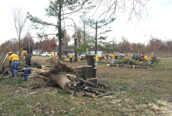 Volunteers started serving  in and around Brookport, Ill., almost immediately after the Nov. 17 storms.