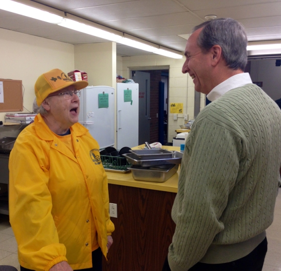 Adams visits with Linda Blough, a Disaster Relief volunteer from Dayton Avenue Baptist in Peoria.