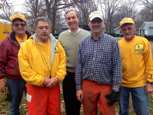 The Disaster Relief team from Sullivan Southern Baptist Church, with Nate Adams (center).