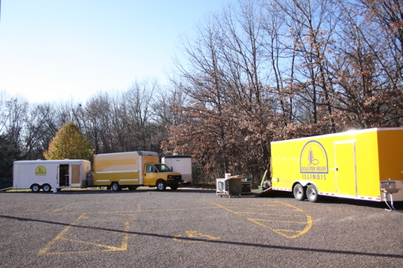 Disaster Relief vehicles parked at Woodland Baptist Church, Peoria.