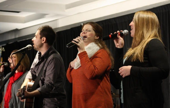 The worship team from Journey Church in Bourbonnais led Pastors' Conference attenders in old and new hymns.