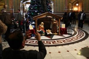 The 2012 nativity scene at the Illinois Capitol.