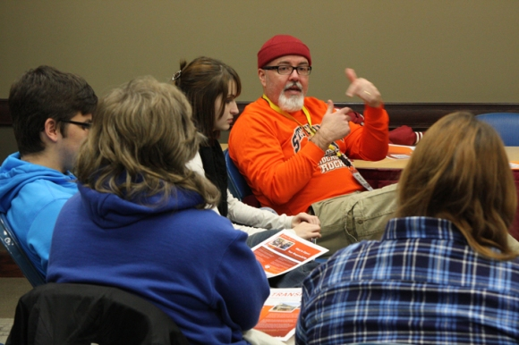 Charles Campbell meets with students interested in church planting.