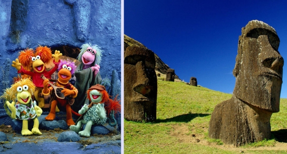 "Photo is unavailable for the ""Noah"" rock giants, but for those who haven't seen the movie, they're less like the Fraggles and more like Easter Island."
