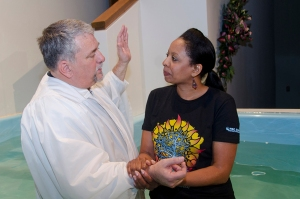 Sonja Conrad was baptized during a spring crusade at First Baptist Church, O'Fallon, Ill.