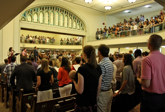 Young people fill the pews at Capitol Hill Baptist Church in Washington, D.C., pastored by Mark Dever.