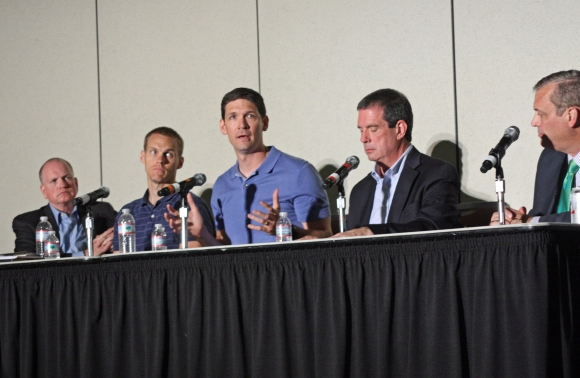 Matt Chandler (center) joined Danny Akin, David Platt, Thom Rainer, and Al Mohler on the Baptist 21 panel discussion in Baltimore.