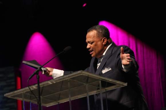 Luter, pastor of Franklin Avenue Baptist Church in New Orleans, brought the crowd to its feet during a Tuesday evening revival service.