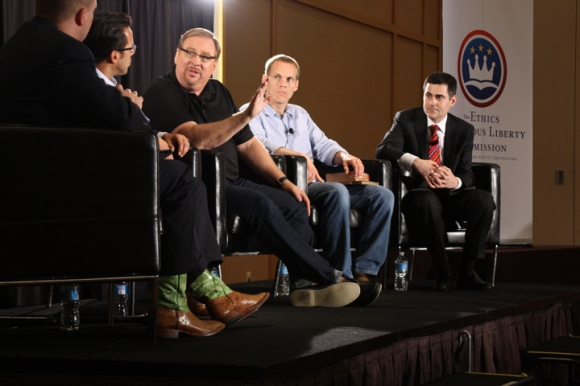 Phillip Bethancourt of the ERLC moderated a panel discussion with Samuel Rodriguez, Rick Warren, David Platt and Russell Moore on the Hobby Lobby Supreme Court case.