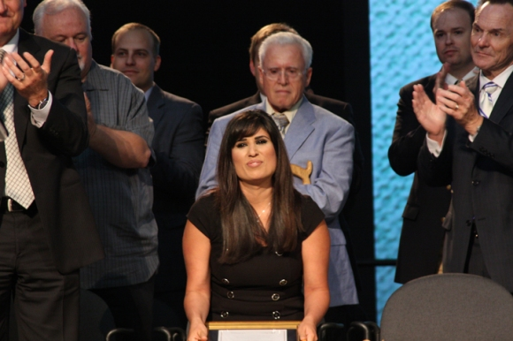 Moore also presented an award to imprisoned pastor Saeed Abedini. His wife, Naghmeh, accepted on behalf of her husband, a former leader in Iran's house church movement who was arrested in 2012.