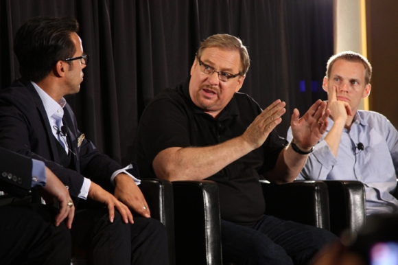 Pastors Rick Warren and David Platt (center and right) joined a panel discussion in June on Hobby Lobby and religious liberty. The panel was sponsored by the Ethics and Religious Liberty Commission during the Southern Baptist Convention in Baltimore.