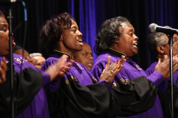 """The choir from Broadview Missionary Baptist Church brought the Pastors' Conference audience to their feet with their opening song, """"I Came to Magnify the Lord"""""""