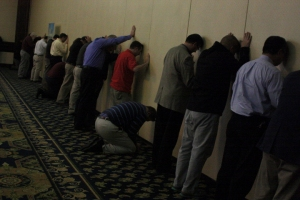 "Pray-ers lined ""wailing walls"" inside the Springfield Crowne Plaza during the ""lament"" phase of the Concert of Prayer."