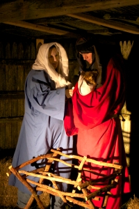 Danielle and Jonathan Spangenberg portray Mary and Joseph at Living Faith Baptist Church's living nativity scene Dec. 6.