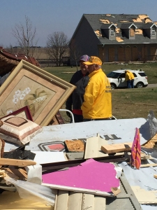 Illinois Baptist Disaster Relief workers survey damage after a tornado outbreak in northern Illinois April 9.