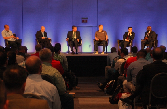 Jedidiah Coppenger (left) moderates the annual Baptist21 panel discussion with (from left) Danny Akin, Albert Mohler, David Platt, Russell Moore and H.B. Charles.