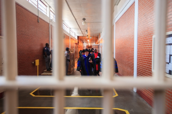 Southwestern Baptist Theological Seminary President Paige Patterson leads faculty through the Darrington Prison Unit during May 9 graduation ceremonies. SWBTS photo by Matt Miller