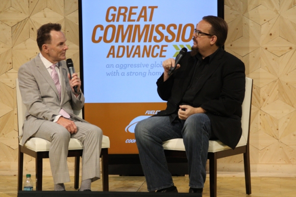 SBC President Ronnie Floyd (left) is interviewed by LifeWay Research President Ed Stetzer in the exhibit hall.