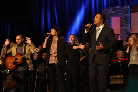 After leading worship Tuesday, Julio Arriola (right) was elected music director for next year's Convention in St. Louis.