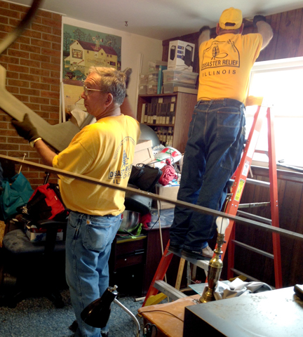 Illinois Disaster Relief volunteers help clean a home in Colorado.