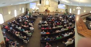The members of FBC Pleasant Hill met in their new sanctuary for the first time May 10.