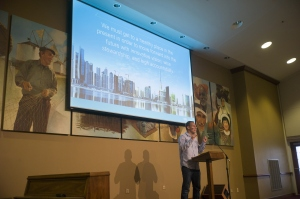 IMB President David Platt addresses staff and missionaries in a town hall meeting Thursday, August 27. Photo courtesy IMB