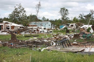 Damage from an F2 tornado