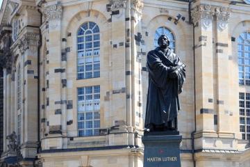 Martin Luther monument on Neumarkt in front of Frauenkirche, Dresden
