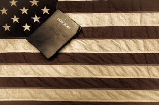 Sepia Bible and flag