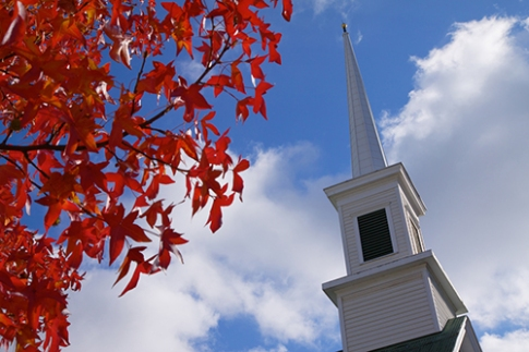 red leaves church steeple