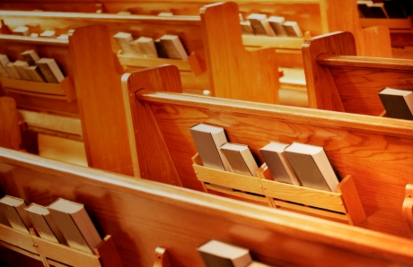 church pews hymnals
