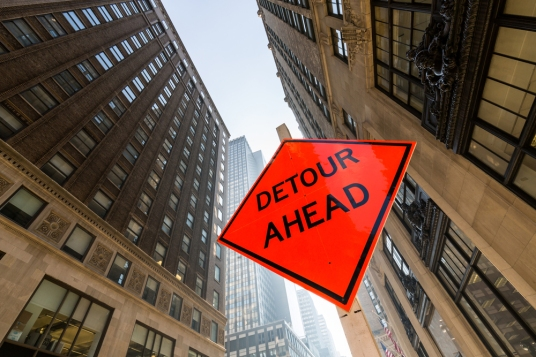 Detour sign in New York